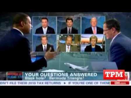 CNN imprisons aviation experts in screen bank until flight is found.